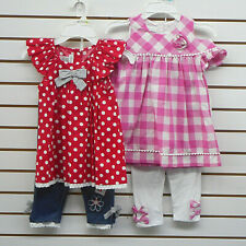 Girls Bonnie Jean Assorted Dress Top W/Leggings 2PC. Sets Sizes 4, 5, 6 & 6X