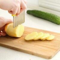 1* Stainless Steel Vegetable Potato Chip Dough Crinkle Tools Kitchen Wavy O4H4