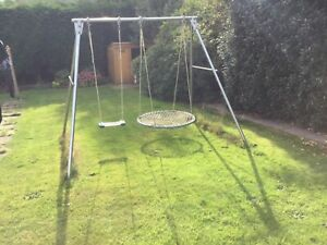 Brave Double Swing Set with skeleton swing and nest swing