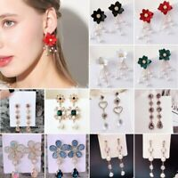 Elegant Women Crystal Flower Pearl Long Hook Dangle Ear Stud Earrings Jewelry