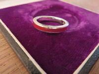 Schöner 925 Silber Ring Email Designer 70er Retro Space Age Vintage Klassiker