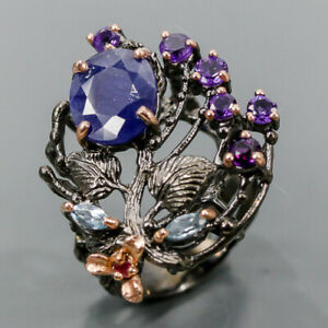 Fine Art ring Design Blue Sapphire Ring Silver 925 Sterling  Size 9 /R175873