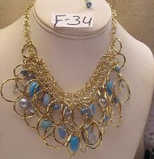 "Turquoise Blue bead & pearl gold plate ring drop choker Necklace Jewelry 14"" 16"""