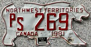 Northwest Territories Canada Bear License Canadian Licence Number Plate PS 269