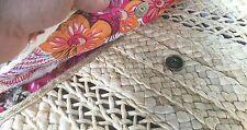 NATURAL STRAW/ PINK Handmade Oversized NEW Straw Handbag Clutch And Purse