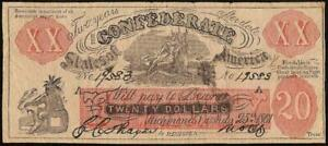 1861 $20 FEMALE RIDING DEER SMOKIN INDIAN CONFEDERATE STATE BOGUS CIVIL WAR NOTE