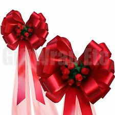 """Red Pull Bows with Rosebuds and Tulle Tails - 8"""" Wide, Set of 6, Valentine's Day"""