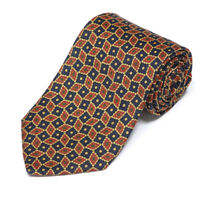 BROOKS BROTHERS Snazzy Navy Blue Brown Ornate Diamond Box Men's Silk Neck Tie
