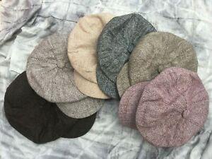 Ladies older girls flat peaked cap hat Peaky Blinders Tweed country Baker boy
