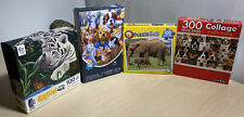 X4 Puzzles 100/500/100/300 Pieces Tiger Cub, Kitty's And Puppys, Elephant, Dogs