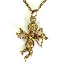 Heavy Cupid's Bow & Arrow 9ct Yellow Gold Pendant & Chain