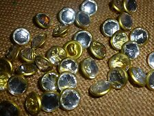 30 x Tiny Gold / Diamond Cut Glass Centre 12mm Shank Back Buttons ( BB/14B )