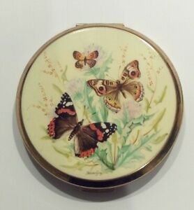 VINTAGE STRATTON ENAMEL POWDER COMPACT, BUTTERFLIES SIGNED.