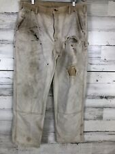 CARHARTT Dungaree distroyed PANTS Mens 38x32  Double Front Utility Khaki
