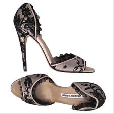 6f979a9017a1 MANOLO BLAHNIK Black lace over satin high heel d Orsay Pumps Sz 38