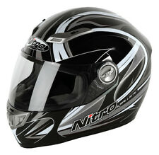 Nitro Ballistic Fibreglass Full Face Motorcycle Helmet Black/Gun/White XS