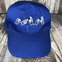 Sign Language Baseball Hat Cap Blue Snapback Adjustable By Otto One Size OSFA