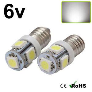 2 x White 6v E10 Screw 5 SMD Bulbs Classic Car Scooter Torch E10 MES
