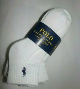 NWT MENS POLO RALPH LAUREN SPORT SOCKS~6 PAIRS~WHITE