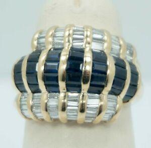 LEVIAN -  5.50 Carat Baguette Sapphire & Diamond Cocktail Ring - 18k Gold