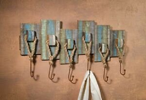 Nautical Décor WEATHERED WOOD RACK WITH HOOKS