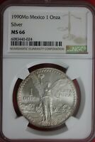 GEM 1990 MS 66 Libertad 1 Onza Mexico 1 Ounce .9999 Silver NGC Certified OCE 489