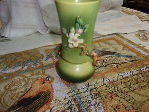 """Vintage Roseville Art Pottery Apple Blossom Green Vase 6 1/4"""""""