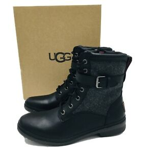 UGG Womens Kesey Black Waterproof Leather Textile Wool Lined Boots SIZE 8.5 B