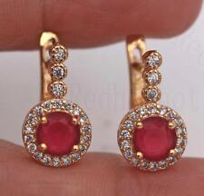 18K Gold Filled Earrings Ruby Topaz Zircon Ear Hoop Coin Round Stud Lady Party