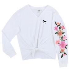 e671bd1598 Victoria s Secret Pink Tie Front Shirt Medium Floral Applique Long Sleeve
