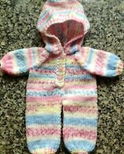 "Dolls clothes hand knitted one piece suit for 12-14""  doll - very cute"