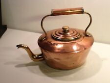 Antique Victorian Era Copper & Brass Kettle,Swan Neck Spout, insulated handle