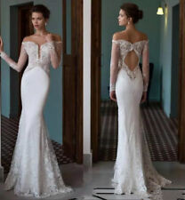 White Off-shoulder Sheath Lace Wedding Dress Sexy Open Back Beach Bridal Gowns