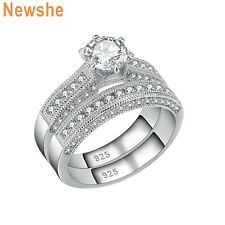 Engagement Ring Set For Women Sz 9 2.50 Ct Round Cz 925 Sterling Silver Wedding