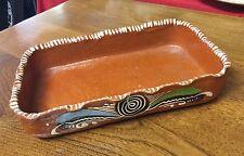 """Rectangular Pottery Dish or Pan Handpainted 7"""" x 10 1/4"""" Pie Crust Edge"""