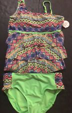 NWT Justice Kids Girls Size 10 Aqua Green Shimmer Crochet Sided Bathing Suit