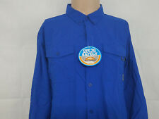 Columbia mens long sleeve button up t shirt NWT blue Large L UPF 30 omni shade