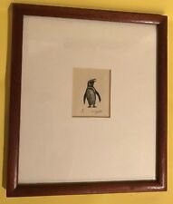 VINTAGE PENQUIN ENGRAVING PENCIL SIGNED BY D.W. PEREPELITZA FRAMED & MATTED
