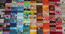 """100 Assorted 4"""" Pre-cut Patchwork Charm Quilt Squares Fabric Lot"""