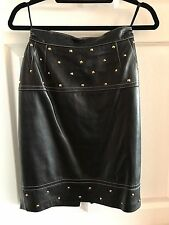 Escada Black Leather Knee Length Pencil Skirt Size 38 US 4 Gold Studs Authentic