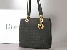 CHRISTIAN DIOR Lady Dior Black Quilted Cannage Tote Purse Bag Vtg