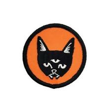 THREE EYED CAT ORANGE EMBROIDERED PATCH BY DRIPFACE
