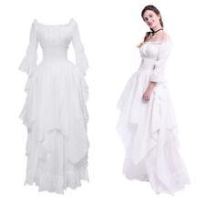 Victorian Medieval Renaissance Gothic White Long Court Dress Princess Gown Girls