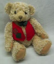 "Hallmark TAN SITTING TEDDY BEAR IN RED VEST 9"" Plush STUFFED ANIMAL Toy"