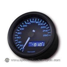 Contachilometri Elettronico Daytona Dark Luce Blu 260Km/h Cafè Racer