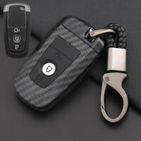 Carbon Fiber Design Shell+Silicone Cover Holder Fob Case  For  Ford Remote Key G