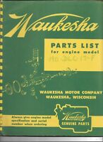 Original Waukesha Parts List Catalog Manual 190-DLC-17F Engines September 1954