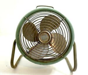 "Vintage GENERAL ELECTRIC Electric Fan 1 Speed model 5KSM59AS362B 15"" tall GREEN"