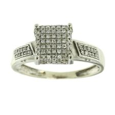 0.25ct Round Cut Diamond Engagement Ring Cluster Solid 10k White Gold
