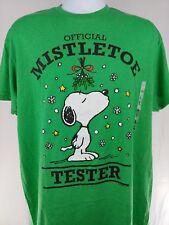 Snoopy t shirt christmas mistletoe tester men's